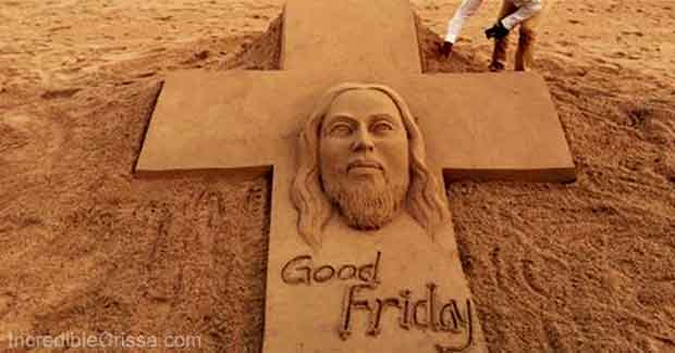 Good Friday sand art by Sudarsan Pattnaik