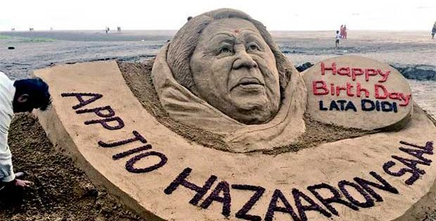 Sand art on Lata Mangeshkar's birthday