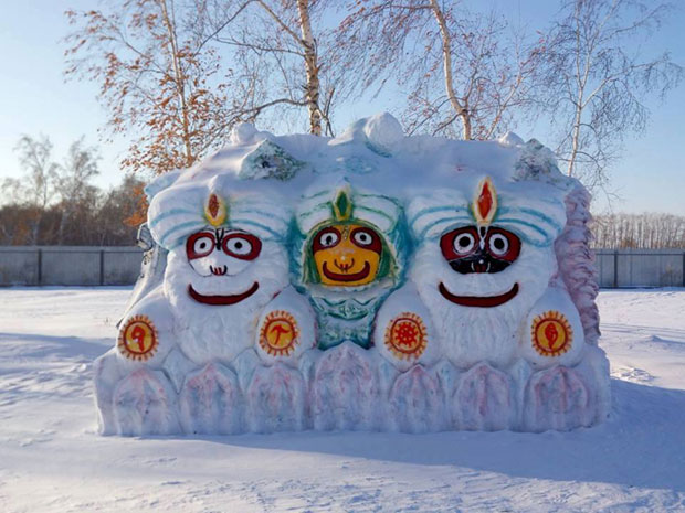 Lord Jagannath carved out of snow in Siberia