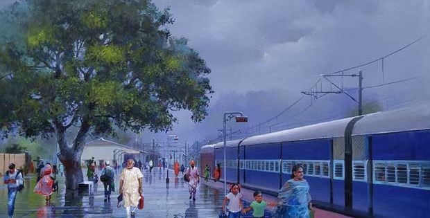 Narendra Modi on railway platform painting