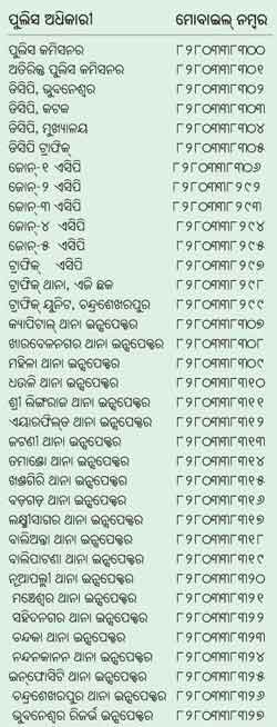 Bhubaneswar Cuttack police station mobile numbers