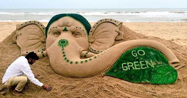 Lord Ganesh sand art by Sudarsan Pattnaik