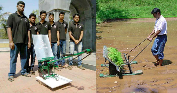 Paddy transplanting machine by Odisha students
