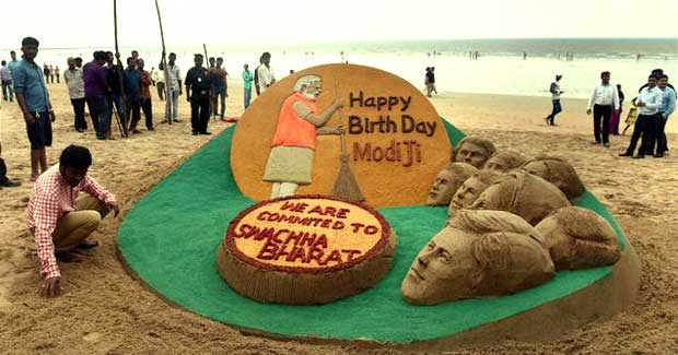 Narendra Modi birthday sand art