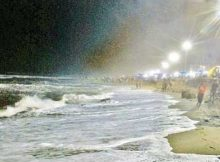 Sea waves lashed Puri beach