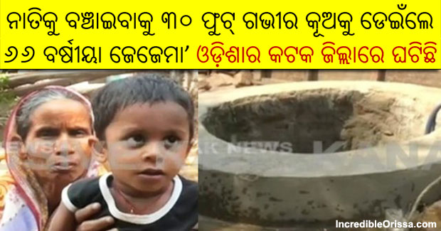 woman jumps into well to save grandson